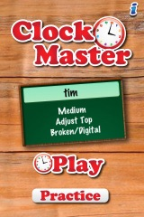 Mathtappers clock master opening screen