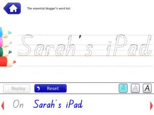 "School Writing screen shot featuring ""Sarah's iPad"" in beginner script"